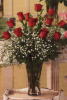 1 Dozen Long Stem Red Roses Arranged